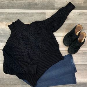 {Zara} cropped cable wool blend knit  sweater